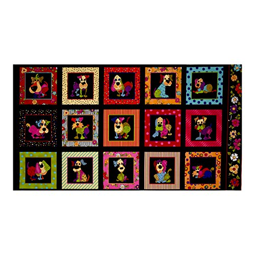Loralie Designs Dog Happy 23.5in Panel Multi Fabric, Gold/Red/Black by Loralie Designs