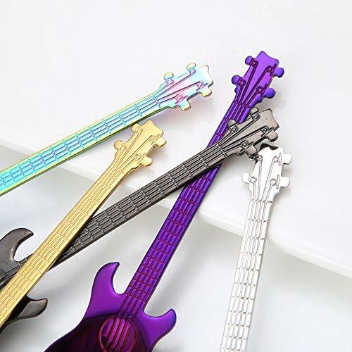 FHFF Cuchara para Guitarra de cartón Animado de Acero Inoxidable con 1 Cuchara para café con Leche Creativa Cuchara para Caramelos, cucharilla de Oro Rosa Chino: Amazon.es: Hogar