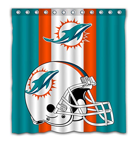 Potteroy Miami Dolphins Team Simple Design Shower Curtain Waterproof Polyester Fabric 66x72 Inches