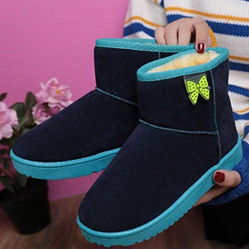 Botas Mujer,Ouneed ® Moda botas de tobillo para la piel de las mujeres alineadas botas de nieve caliente Azul oscuro