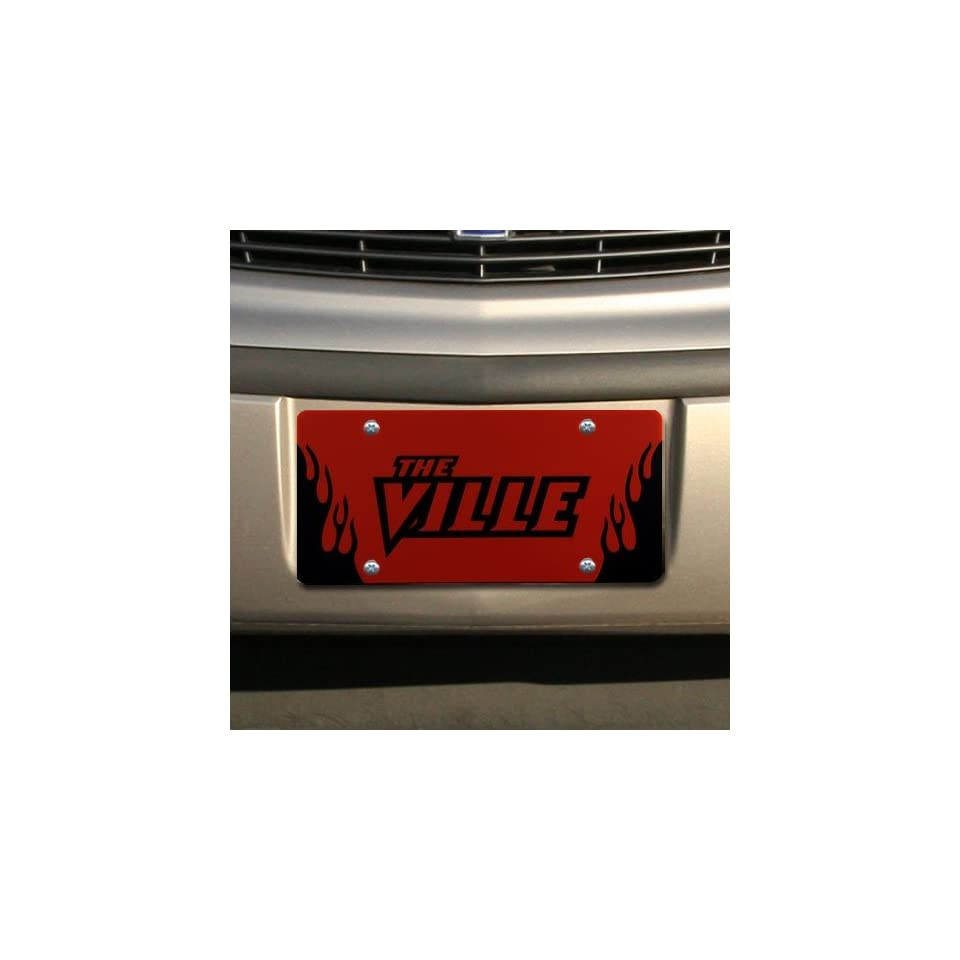 NCAA Louisville Cardinals Red Mirrored Flame License Plate