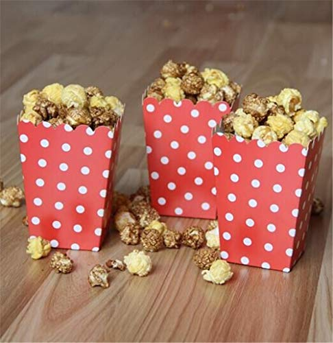 ASMGroup Popcorn Boxes 6pcs/bag Colorful Mini Dot Popcorn Box Party Supplies Gift Box Party Favor Candy For Kid Baby Shower Wedding Party Decoration Red