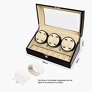 JQUEEN Six Automatic Watch Winder with 7 Extra Storages Spaces, Quiet Mabuchi Motors