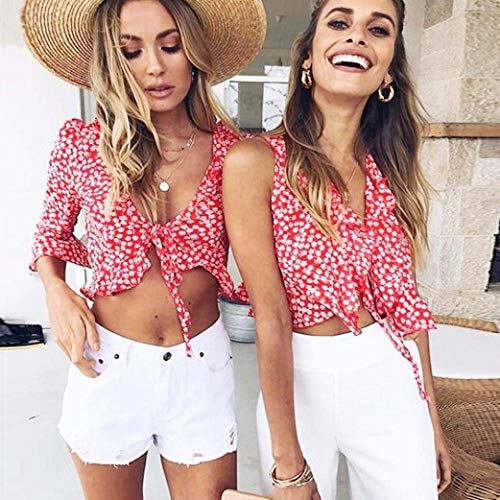 Slim Fit Cou Trompette Casual Motif Blouse V Top Haut Ventre Shirt Femme Chemise Manches Elgante Fleur Crop Chic sans Mode Rouge Et ITwaxYI