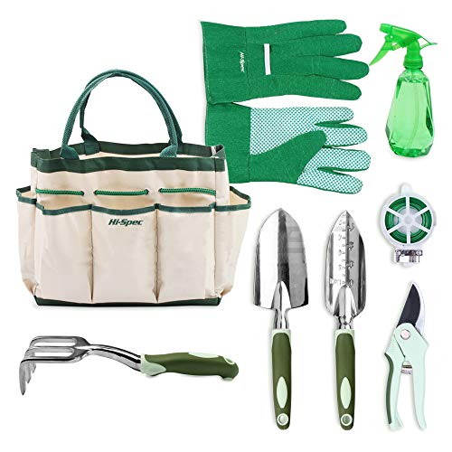 Hi-Spec Garden Tote & Garden Tools Set of Yard & Gardening Tools with Pruning Shears, Garden Hand Tools, Garden Storage Tote Bag & Gardening Gloves - Yard Tools Gardening Kit (8 Piece)