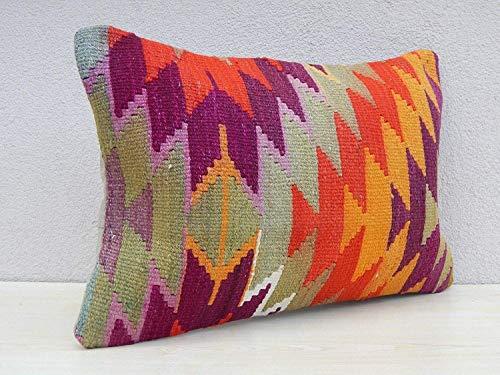 Handwoven Tribal Wool Vintage Kilim Cushions, Vintage Rug Sofa Pillow Cover, Flat-Weave Kilim Rug Fragment Pillow, Turkish Kelim Cushion, Lumbar Kilim Pillow 16'' x 24'' (40 x 60 Cm)