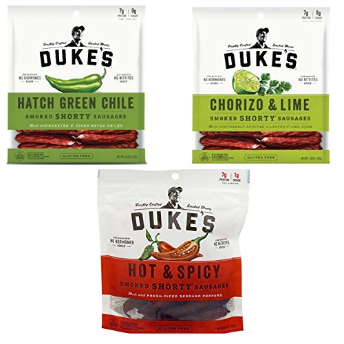 Dukes Shorty Smoked Sausage Assortment Pack with All Natural Ingredients. Hot & Spicy, Chorizo & Lime, and Hatch Flavors. Convenient One-Stop Shopping. Paleo Friendly and Environmentally Responsible.