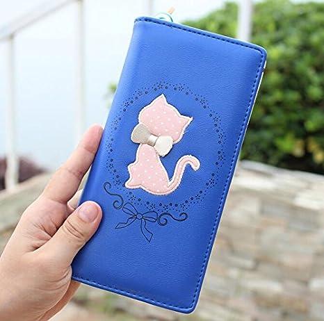 Heelinna - Cartera de piel para mujer, diseño de lunares, con dibujos de gatos, con cremallera larga, color azul: Amazon.es: Hogar