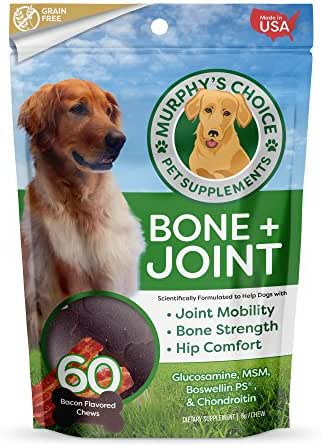 Murphy's Choice Bone + Joint Dog Chews – Glucosamine for Dogs – Also Contains Boswellin PS, Methylsulfonylmethane (MSM), and Chondroitin - 60 Bacon-Flavored Bone-Shaped Chews - Made in The USA