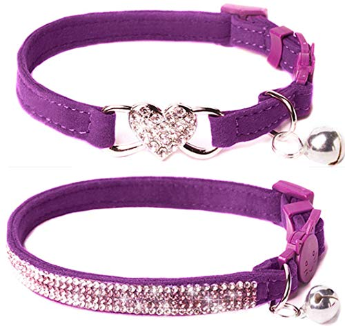 (Upaw Rhinestone Cat Breakaway Collar Pack of 2 Purple Kitten Collars with Bell)