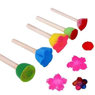 Kekailu Sponge Toy,5Pcs Wooden Sponge Painting Brushes DIY Graffiti Tools Kids Educational Toys: Home & Kitchen
