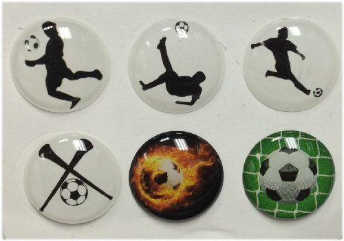 3D Semi-circular Soccer Balls Theme Kicks 6 Pieces Bubble Home Button Stickers for iPhone 5 4/4s 3GS 3G, iPad 2, iPad Mini, iTouch Vuvuzela (Best Iphone 3g Themes)