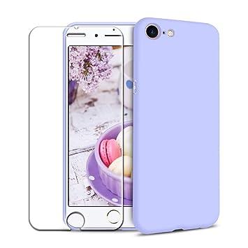 Funda iPhone 7/ iPhone 8 + Protector de Pantalla de Vidrio Templado, Carcasa Ultra Fino Suave Flexible Silicona Colores del Caramelo Protectora Caso ...