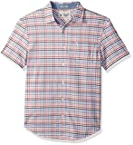 Original Penguin Men's Short Sleeve Multi Color Gingham Stretch Oxford Shirt, Bright White, Large