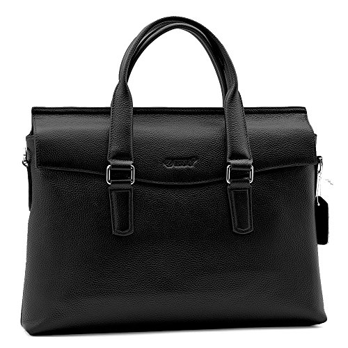 EUG Men's Casual Cow Leather Bag Business Handbag Laptop Computer Briefcases with Removable Shoulder Strap For iPad Laptop Macbook - Black (Horizontal) by WIKISH