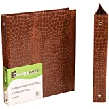 JAM Paper Premium Crocodile Textured 1 inch Binder - Brown 3 Ring Binder - Sold Individually
