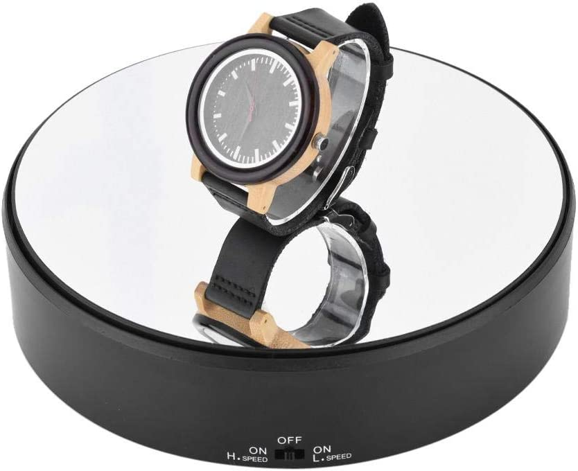 360° Rotating Display Stand - Electric Mirror Surface Speed Adjustable Display Stand for Jewelry, Watch, Digital Product, 3D Models and Collectibles, 2kg Load Bearing Battery Powered