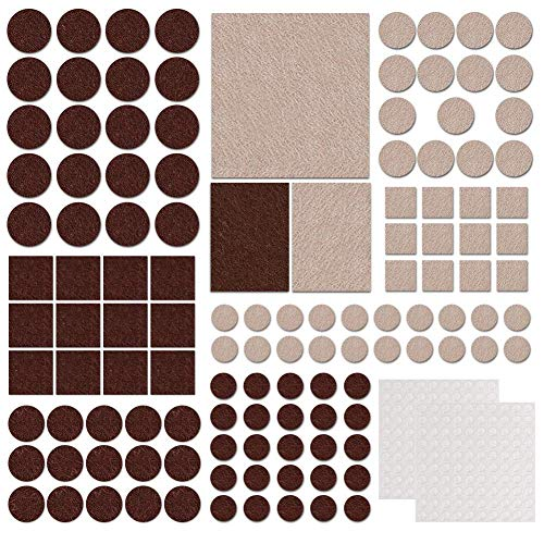 Joyoldelf Furniture Felt Pads, 322 Pack Premium Self Adhesive Wood Floor Protector for Table, Chair, Desk, Vase, Sofa, Including 2 x 100 Clear Rubber Pads (Beige & Brown) (silver)