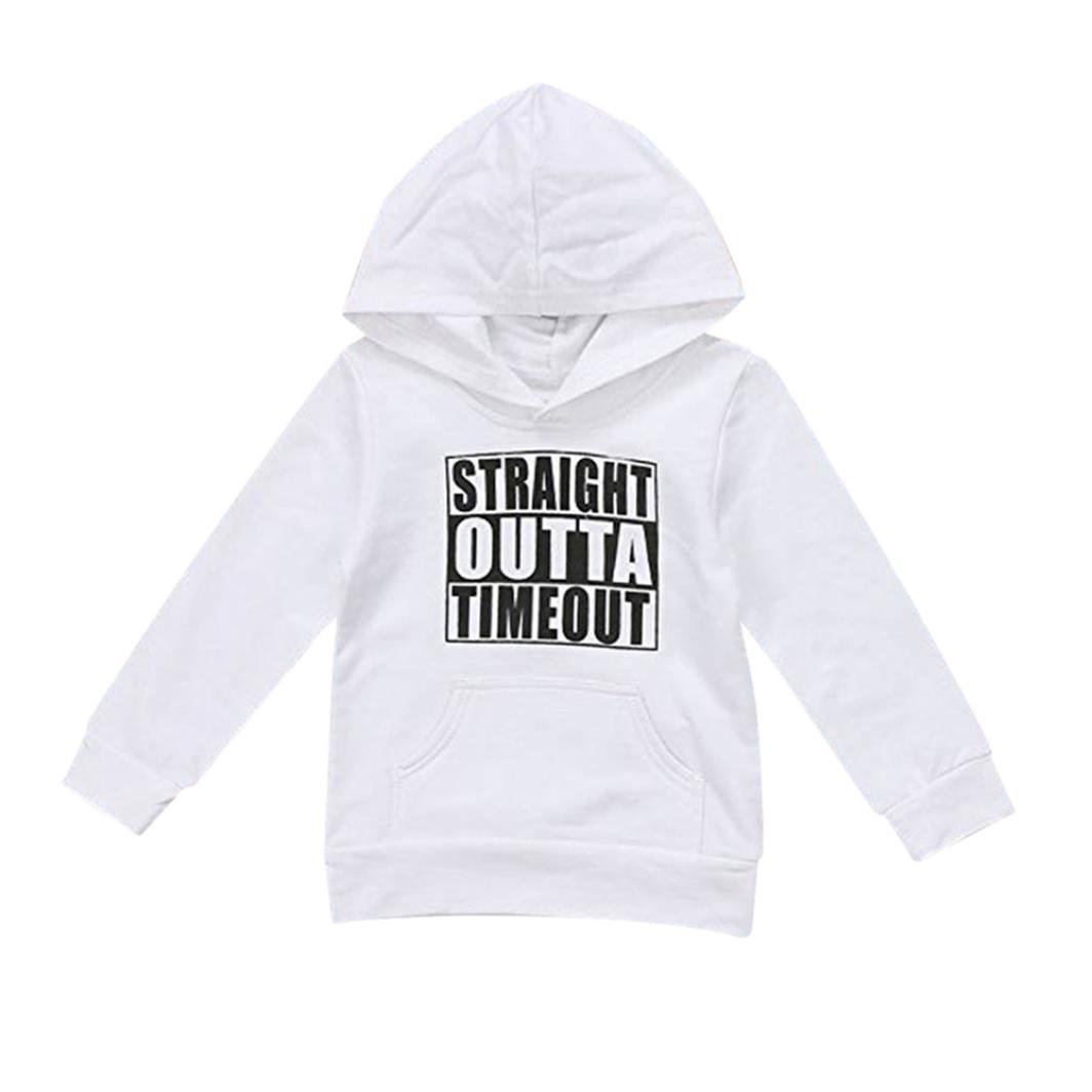 Lanhui Baby Boys Girls Hooded Sweatshirts Infant Letter Blouse Hoodies Tops