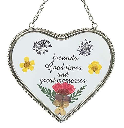 Stained Glass Suncatcher for Windows Friend Heart Friend Suncatcher with Pressed Flower Wings - Heart Suncatcher - Friend Gifts Gift for Friend's Day (4.54.5) ()