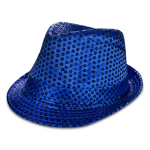 Blue Sequin Fedora Party Hat ()