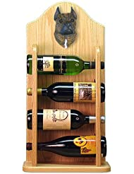 Michael Park BRINDLE American Staffordshire Terrier Wine Rack 4 Bottle Light Oak