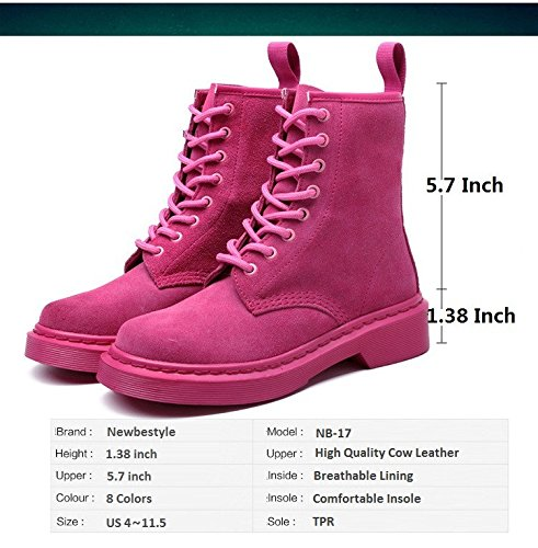 with Women Lace Shoes Plus Size Boot Ankle Suede up Leather Martin Newbestyle Rose Or Combat Cow Mens Red zS8wqnddvR