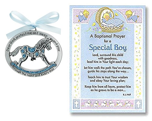 hristening Gifts for Boy | Cathedral Arts Rocking Horse Crib Medal and Christening Prayer Card | Christening Gift for Boy, Bundle of 2 Items (Newborn Rocking Horse)