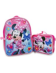 Minnie Mouse Girls Pink Backpack Lunch Box SET Bookbag