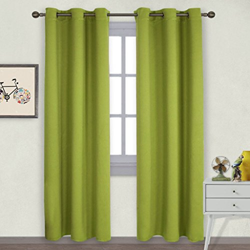 NICETOWN Window Treatment Thermal Insulated Solid Grommet Blackout Curtains/Drapes for Bedroom (2-Pack,42 by 84 Long, Fresh Green) (Curtains Green Lime Drapes)