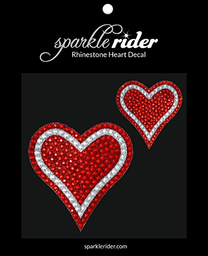Bling Heart Bling (Sparkle Rider Rhinestone Decal Stickers Heart-Shape - Unique Girly Accessory Gift for Her Women Wedding - Waterproof Bling Decor for Car Motorcycle Helmet Wall Window (2 pcs Red/Silver))