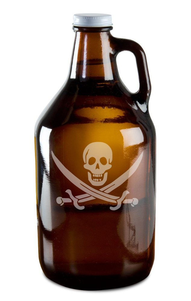 Skull And Crossed Pirate's Swords Hand-Made Etched Glass Beer Growler 64 oz