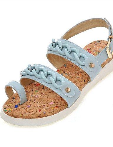LFNLYX Zapatos de mujer-Tacón Plano-Comfort-Sandalias-Vestido / Casual / Fiesta y Noche-Semicuero-Negro / Azul / Rosa / Blanco Black