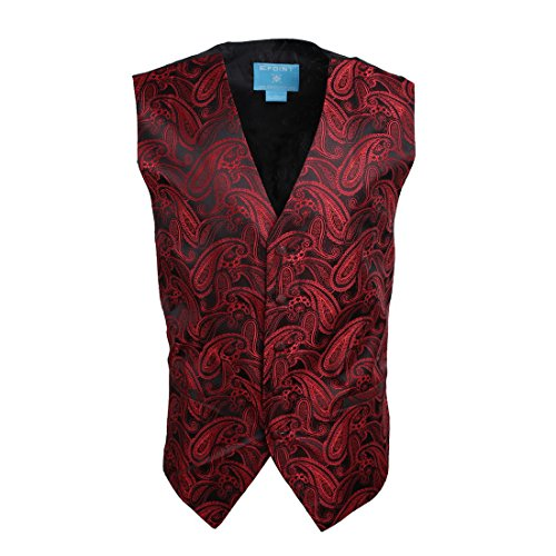 EGC1B07C-M Red Black Paisley Gifts for the Groom Waistcoat Woven Microfiber Absolutely Mens Vests Medium Vest By - Men Steampunk