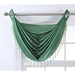 Stylemaster Chelsea Grommet Waterfall Valance with Beaded Trim, 36-Inch by 37-Inch, Emerald