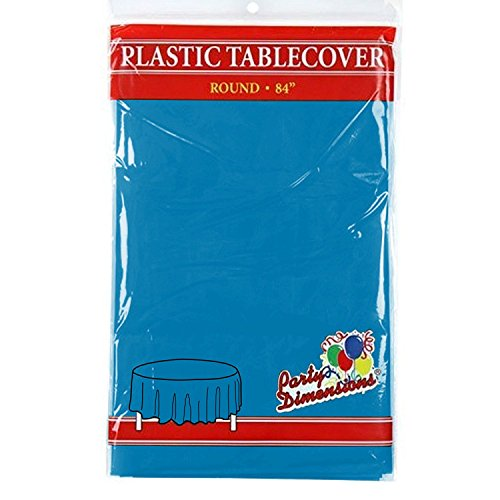 Medium Blue Round Plastic Tablecloth - 4 Pack - Premium Quality Disposable Party Table Covers for Parties and Events - 84