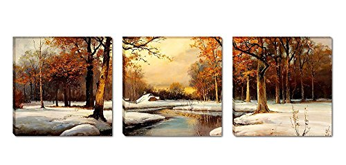 [Mon Art - Scenery Beautiful Trees river Snow Portray Modern Canvas Art Wall Decor Realistic Paintings Abstract Paintings Occident Style on Canvas Stretched and Framed Ready to Hang] (Snow Family Canvas Art)