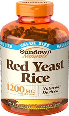 Sundown Naturals Red Yeast Rice 1200 Mg Capsules Value Size, 240 Count