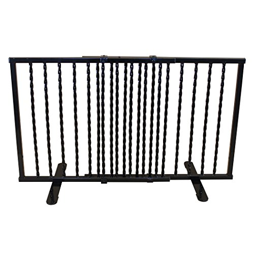 Cardinal Gates Wrought Iron Step Over Freestanding Pet Gate, Black