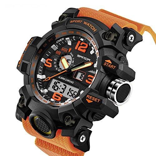 2017 New Brand SANDA Fashion Watch Men G Style Waterproof Sports Military Watches Shock Men's Luxury Analog Quartz Digital Watch (Orange)