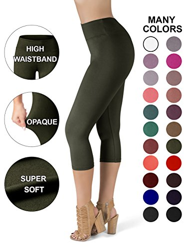 - SATINA High Waisted Super Soft Capri Leggings - 20 Colors - Reg & Plus Size (Plus Size, Olive)