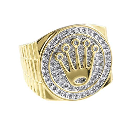 - NIV'S BLING - 18K Yellow Gold-Plated Cubic Zirconia Presidential Ring Size 8