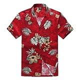 Palm Wave Men's Hawaiian Shirt Aloha Shirt S Burgundy Palm Tree