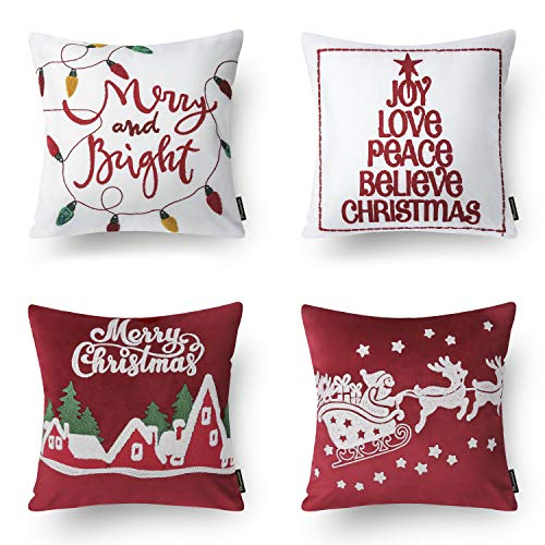 "Phantoscope Set of 4 Merry Christmas Embroidery Letter Red and White Throw Pillow Cushion Cover 18"" x 18"" 45 x 45 cm"