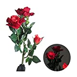LIEYANG Solar Power 3 LED Red Rose Flower Light Garden Waterproof Lamp Red