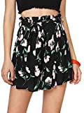 Floerns Women's Tie Bow Floral Print Summer Beach Elastic Shorts Navy L