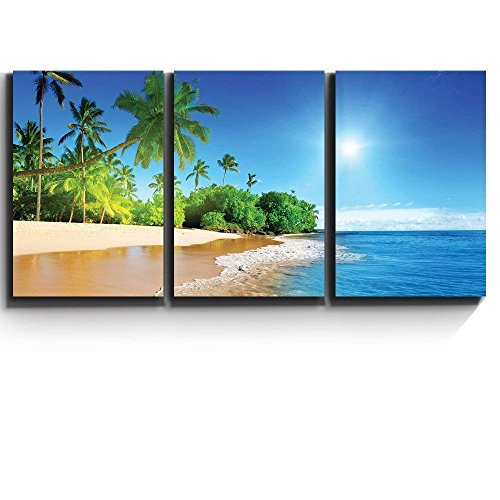 Print Contemporary Art Wall Decor Palm trees on tropical beach vacation Artwork Wood Stretcher Bars x3 Panels
