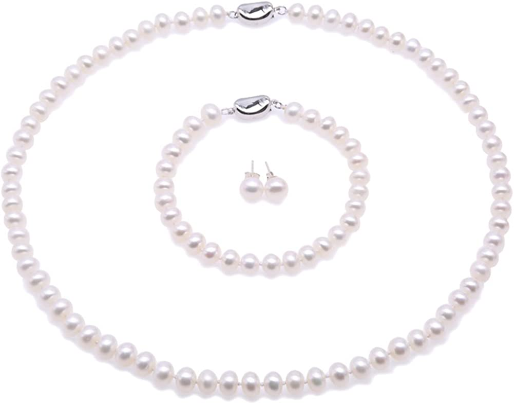 Two Row AA Grade 7-8mm Freshwater Pearl Necklace Bracelet and Earrings
