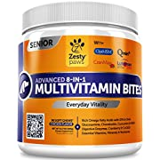 #LightningDeal 78% claimed: Advanced Multivitamin for Dogs - Glucosamine & Chondroitin + MSM for Hip & Joint + Arthritis Relief - Digestive Enzymes & CoQ10 + Fish Oil for Skin & Coat - For Senior Dogs & All Ages - 90 Chew Treats