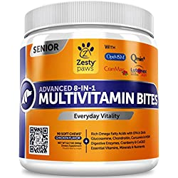Senior Advanced Multivitamin for Dogs - Glucosamine Chondroitin for Hip & Joint Arthritis Relief - Dog Vitamins & Fish Oil for Skin & Coat - Curcumin, Digestive Enzymes, MSM + CoQ10 - 90 Chew Treats